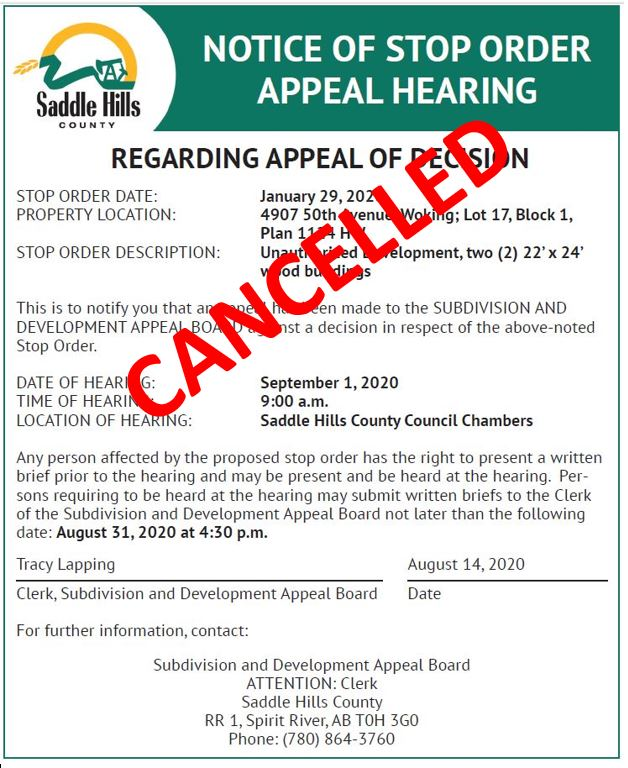 Image of Cancellation Notice