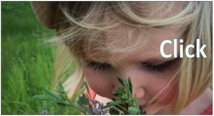 Image of little girl smelling flower