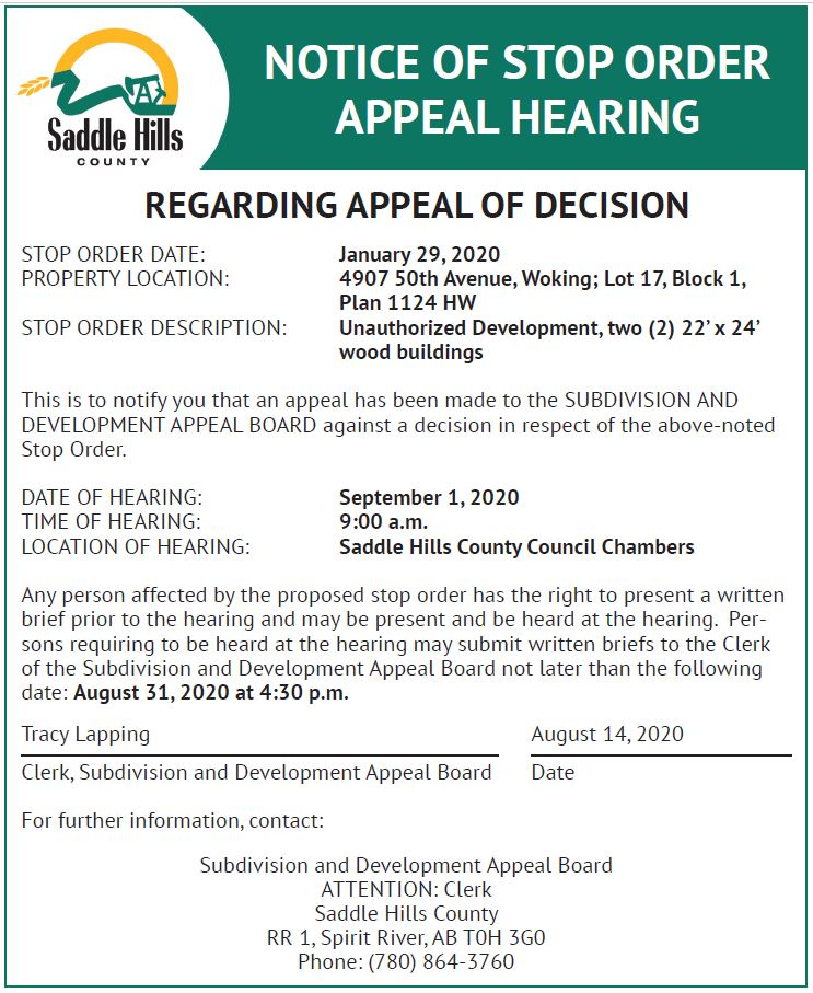 Image of Stop Order Appeal Hearing