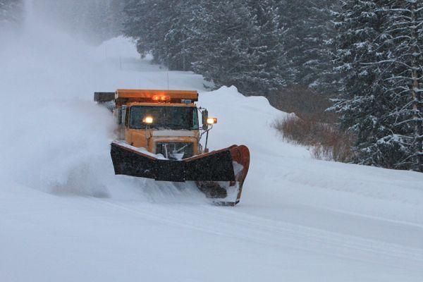 Phoito of Snowplow through drifting snow